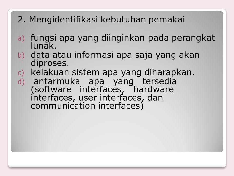 2. Mengidentifikasi kebutuhan pemakai a) fungsi apa yang diinginkan pada perangkat lunak. b) data atau informasi apa saja yang akan diproses. c) kelak