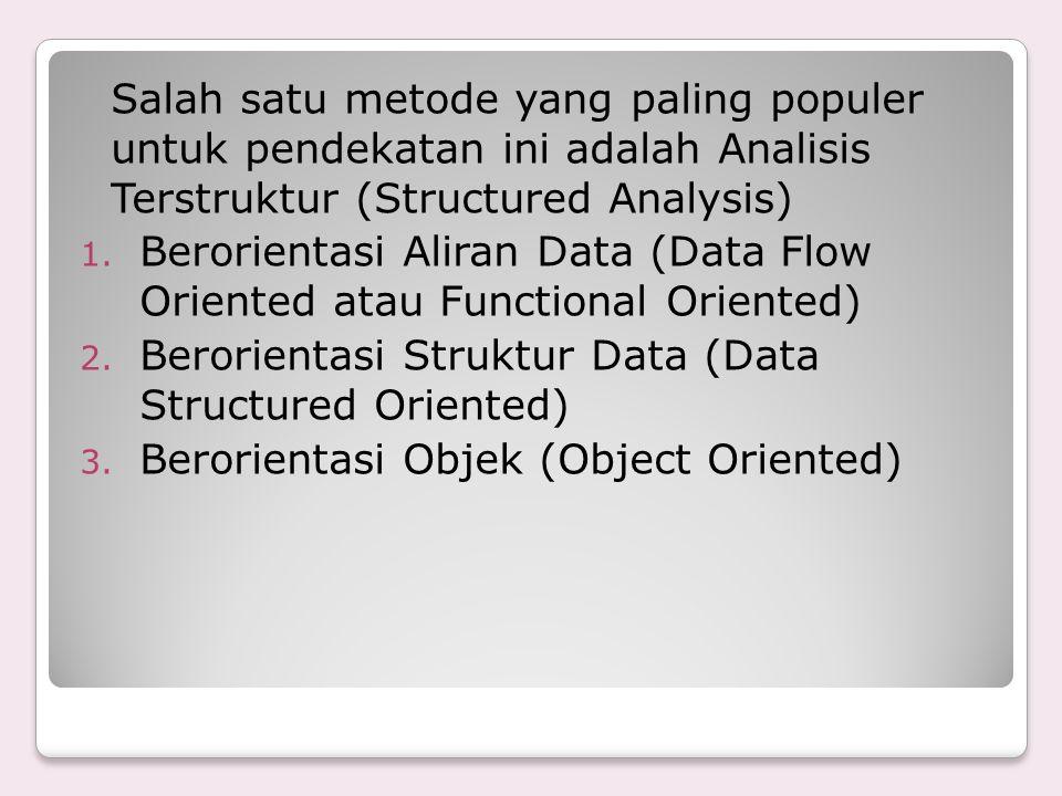 Salah satu metode yang paling populer untuk pendekatan ini adalah Analisis Terstruktur (Structured Analysis) 1. Berorientasi Aliran Data (Data Flow Or