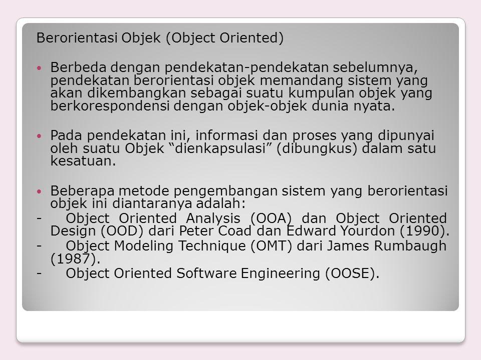 Berorientasi Objek (Object Oriented) Berbeda dengan pendekatan-pendekatan sebelumnya, pendekatan berorientasi objek memandang sistem yang akan dikemba