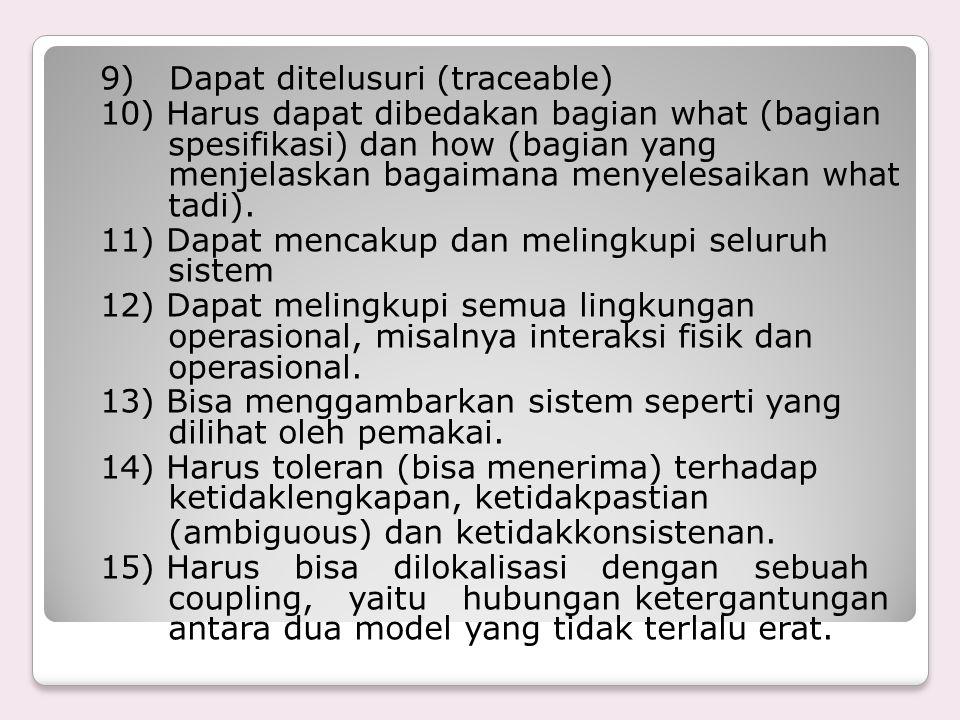 9) Dapat ditelusuri (traceable) 10) Harus dapat dibedakan bagian what (bagian spesifikasi) dan how (bagian yang menjelaskan bagaimana menyelesaikan wh