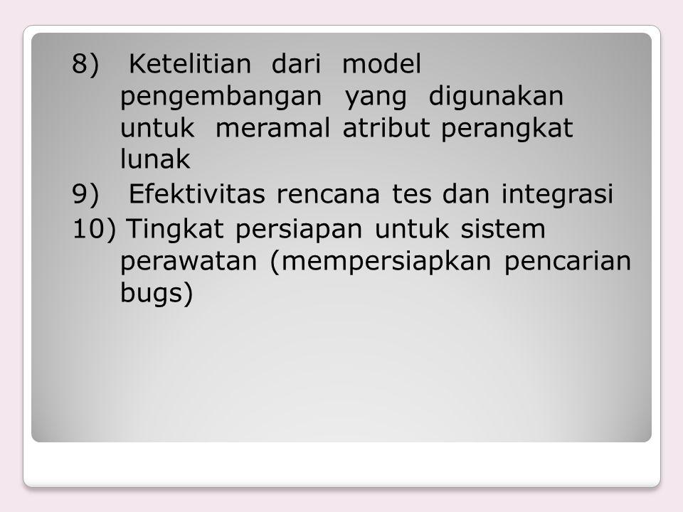 8) Ketelitian dari model pengembangan yang digunakan untuk meramal atribut perangkat lunak 9) Efektivitas rencana tes dan integrasi 10) Tingkat persia