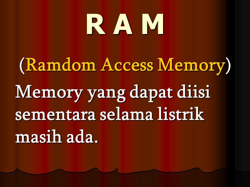 ROM (Read Only Memory) - Yang isinya adalah program yang dibuat oleh pembuat komputer -P-P-P-Progaram ini tidak dapat ditambah atau dirobah.
