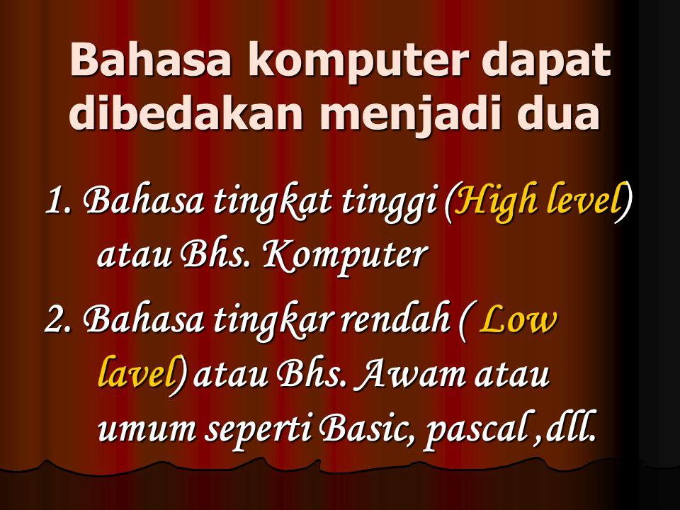 b. Bahasa Koputer Bahasa perangkat lunak disebut dengan Languange softwere yaitu program yang digunakan untuk menterjemahkan intruksi yang ditulis dal
