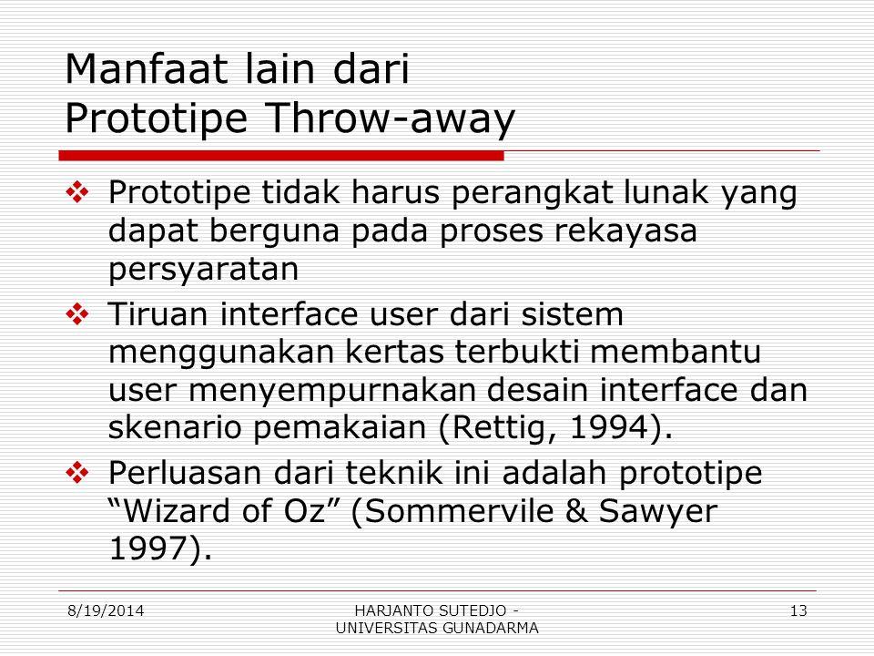 Manfaat lain dari Prototipe Throw-away  Prototipe tidak harus perangkat lunak yang dapat berguna pada proses rekayasa persyaratan  Tiruan interface user dari sistem menggunakan kertas terbukti membantu user menyempurnakan desain interface dan skenario pemakaian (Rettig, 1994).