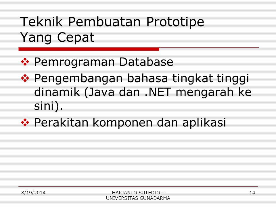 Teknik Pembuatan Prototipe Yang Cepat  Pemrograman Database  Pengembangan bahasa tingkat tinggi dinamik (Java dan.NET mengarah ke sini).