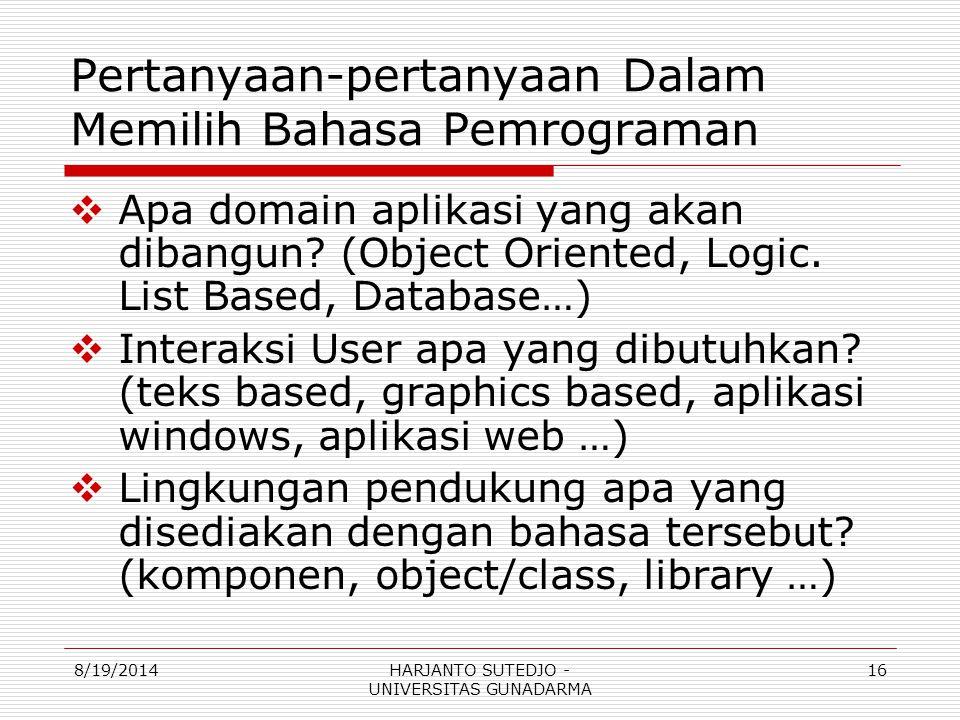 Pertanyaan-pertanyaan Dalam Memilih Bahasa Pemrograman  Apa domain aplikasi yang akan dibangun.