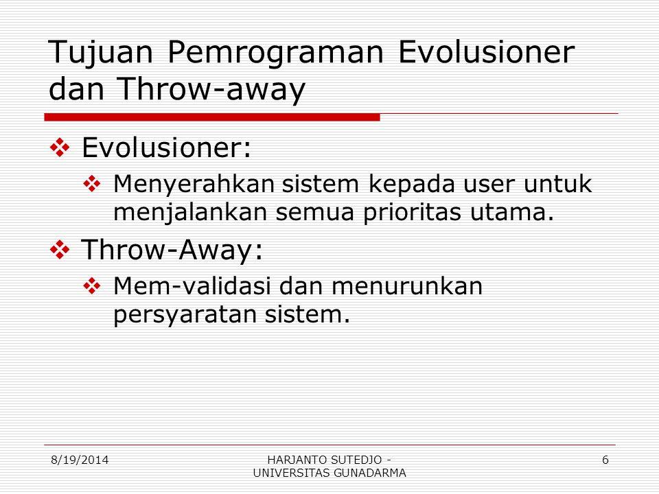 Tujuan Pemrograman Evolusioner dan Throw-away  Evolusioner:  Menyerahkan sistem kepada user untuk menjalankan semua prioritas utama.