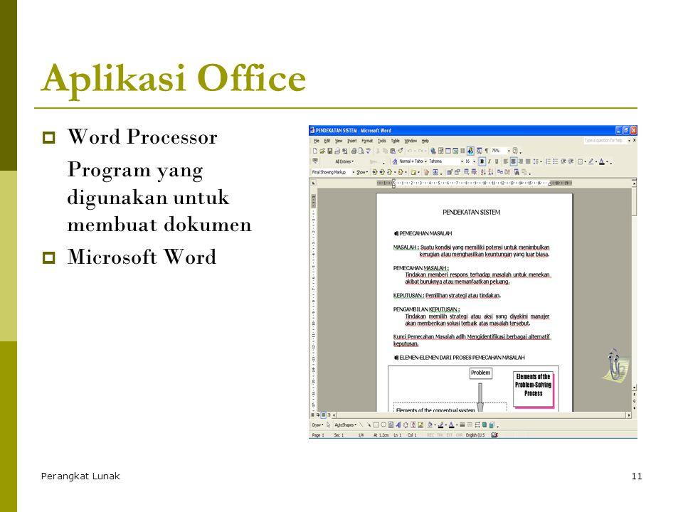 Perangkat Lunak11 Aplikasi Office  Word Processor Program yang digunakan untuk membuat dokumen  Microsoft Word