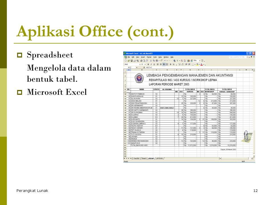 Perangkat Lunak12 Aplikasi Office (cont.)  Spreadsheet Mengelola data dalam bentuk tabel.  Microsoft Excel