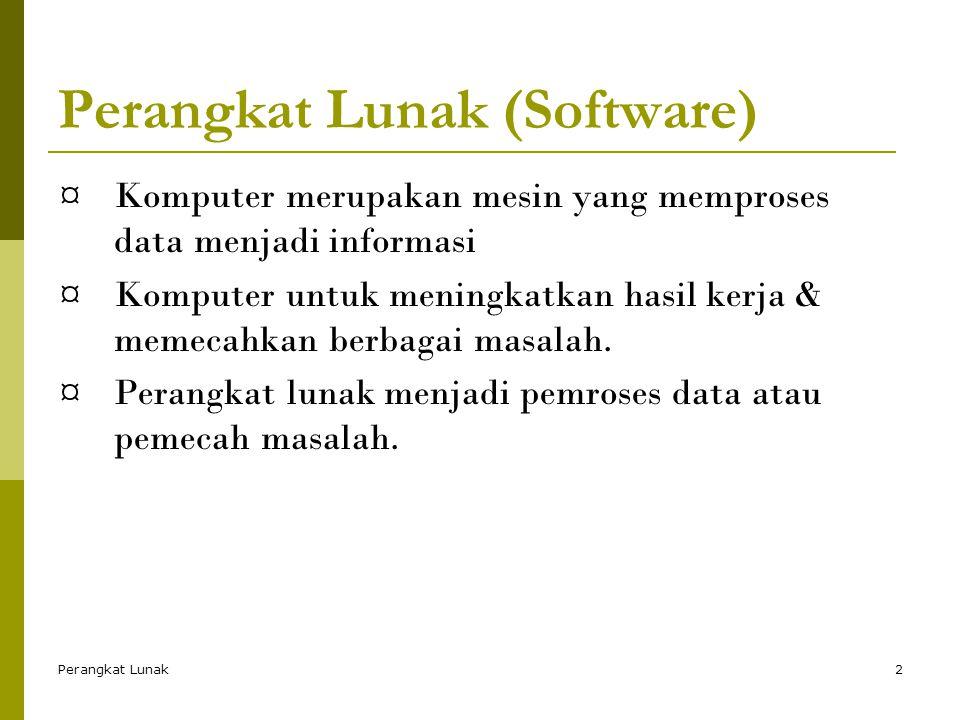 Perangkat Lunak2 Perangkat Lunak (Software) ¤Komputer merupakan mesin yang memproses data menjadi informasi ¤Komputer untuk meningkatkan hasil kerja & memecahkan berbagai masalah.