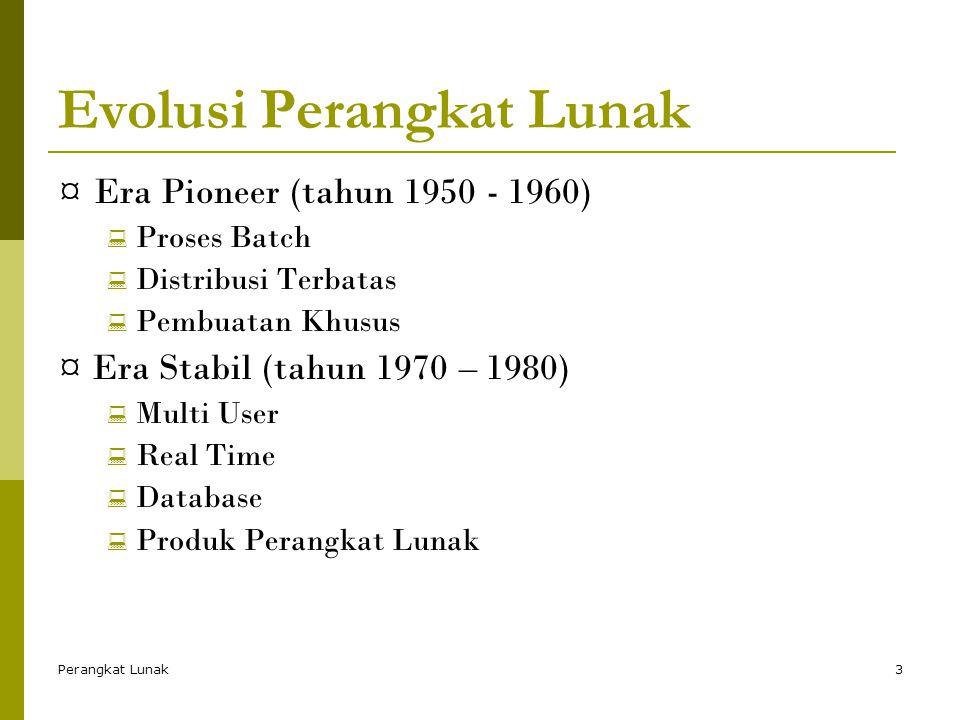 Perangkat Lunak3 Evolusi Perangkat Lunak ¤Era Pioneer (tahun 1950 - 1960)  Proses Batch  Distribusi Terbatas  Pembuatan Khusus ¤ Era Stabil (tahun 1970 – 1980)  Multi User  Real Time  Database  Produk Perangkat Lunak