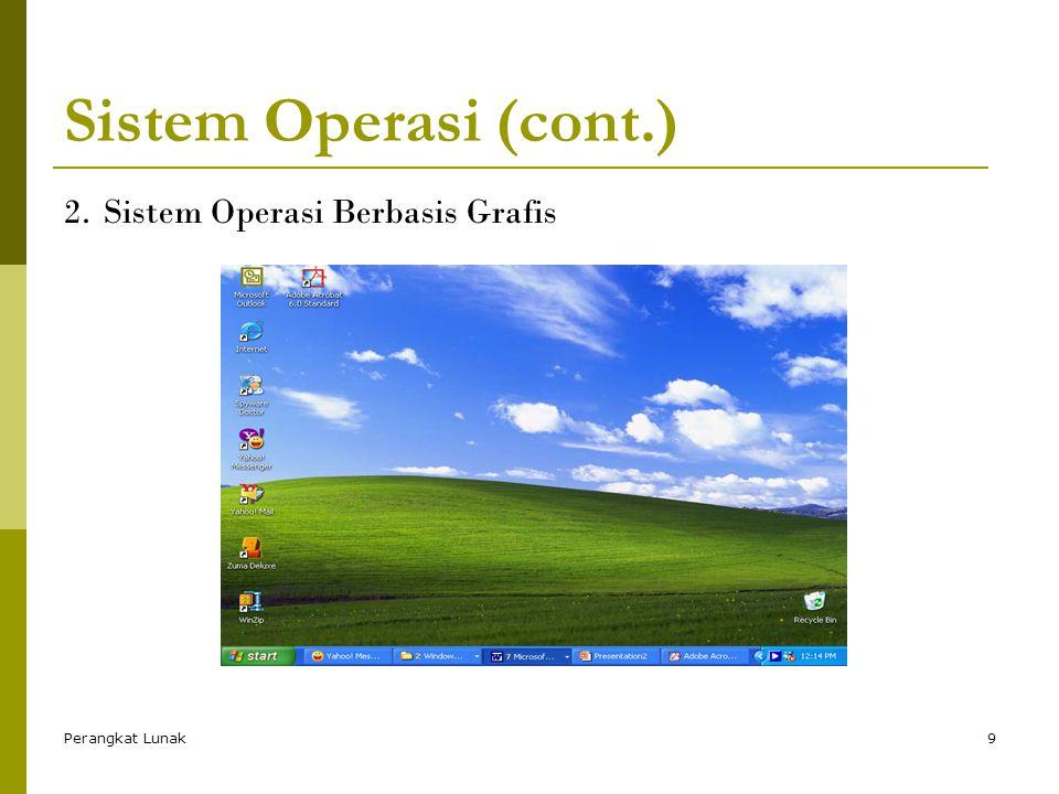 Perangkat Lunak9 Sistem Operasi (cont.) 2.Sistem Operasi Berbasis Grafis