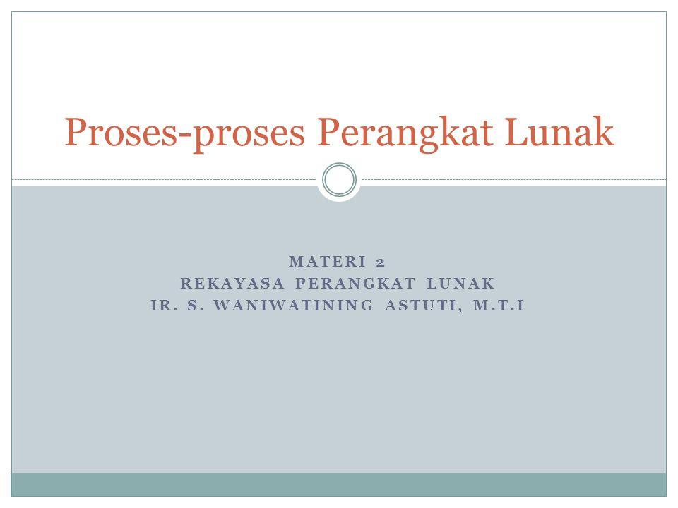 MATERI 2 REKAYASA PERANGKAT LUNAK IR. S. WANIWATINING ASTUTI, M.T.I Proses-proses Perangkat Lunak