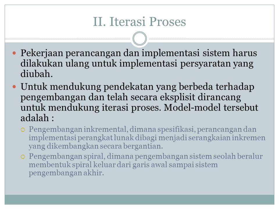 II. Iterasi Proses Pekerjaan perancangan dan implementasi sistem harus dilakukan ulang untuk implementasi persyaratan yang diubah. Untuk mendukung pen
