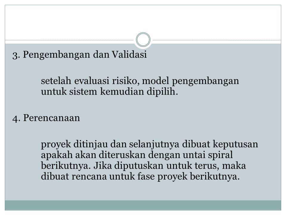 3. Pengembangan dan Validasi setelah evaluasi risiko, model pengembangan untuk sistem kemudian dipilih. 4. Perencanaan proyek ditinjau dan selanjutnya