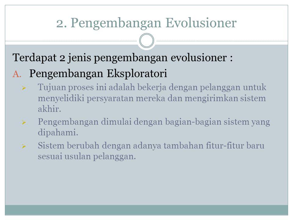 2.Pengembangan Evolusioner Terdapat 2 jenis pengembangan evolusioner : A.