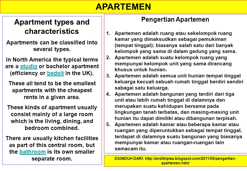 Apartment types and characteristics Apartments can be classified into several types. In North America the typical terms are a studio or bachelor apart