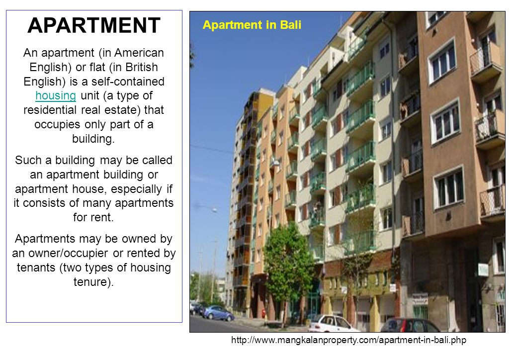 Apartment types and characteristics Apartments can be classified into several types.