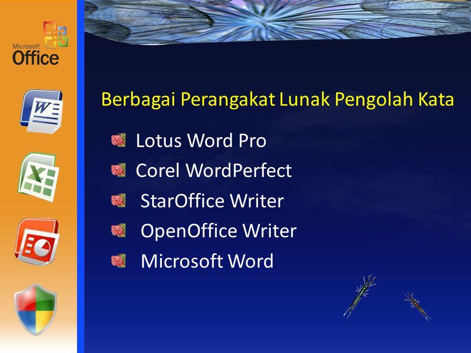 Berbagai Perangakat Lunak Pengolah Kata Lotus Word Pro Corel WordPerfect StarOffice Writer OpenOffice Writer Microsoft Word