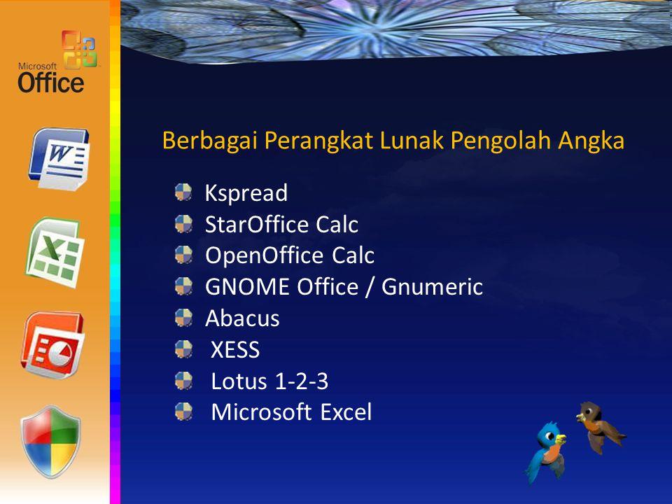 Berbagai Perangkat Lunak Pengolah Angka Kspread StarOffice Calc OpenOffice Calc GNOME Office / Gnumeric Abacus XESS Lotus 1-2-3 Microsoft Excel