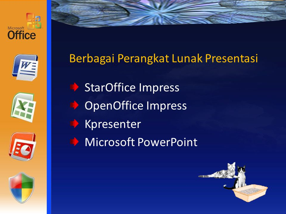 Berbagai Perangkat Lunak Presentasi StarOffice Impress OpenOffice Impress Kpresenter Microsoft PowerPoint