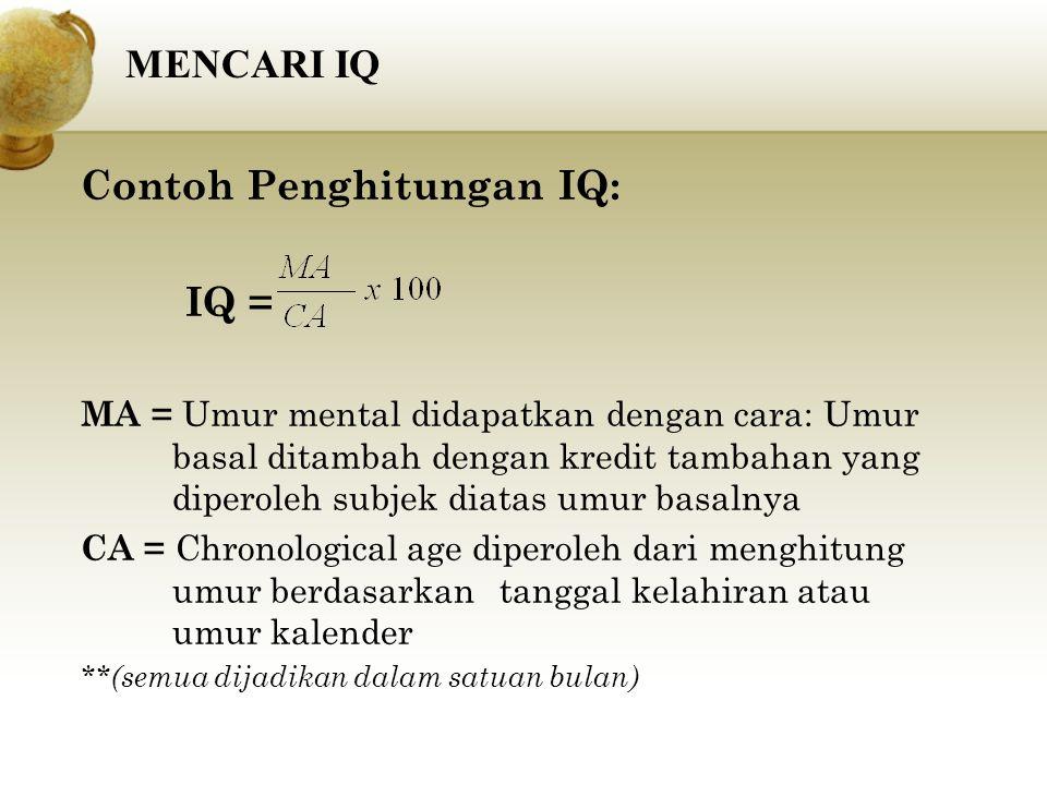 Contoh Penghitungan IQ: IQ = MA = Umur mental didapatkan dengan cara: Umur basal ditambah dengan kredit tambahan yang diperoleh subjek diatas umur bas