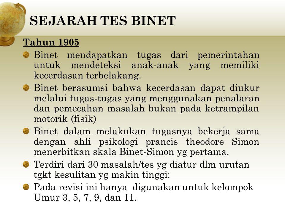 SEJARAH TES BINET Tahun 1905 Binet mendapatkan tugas dari pemerintahan untuk mendeteksi anak-anak yang memiliki kecerdasan terbelakang. Binet berasums
