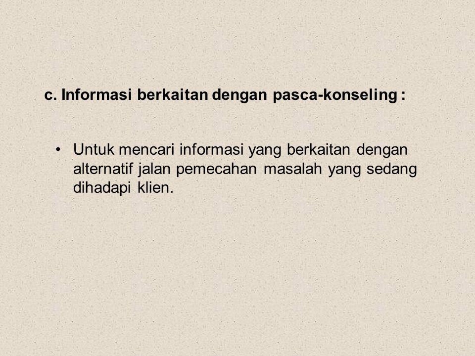c. Informasi berkaitan dengan pasca-konseling : Untuk mencari informasi yang berkaitan dengan alternatif jalan pemecahan masalah yang sedang dihadapi