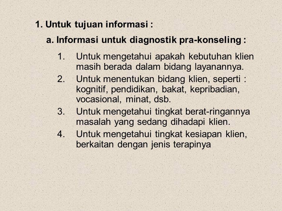 1. Untuk tujuan informasi : a. Informasi untuk diagnostik pra-konseling : 1.Untuk mengetahui apakah kebutuhan klien masih berada dalam bidang layanann