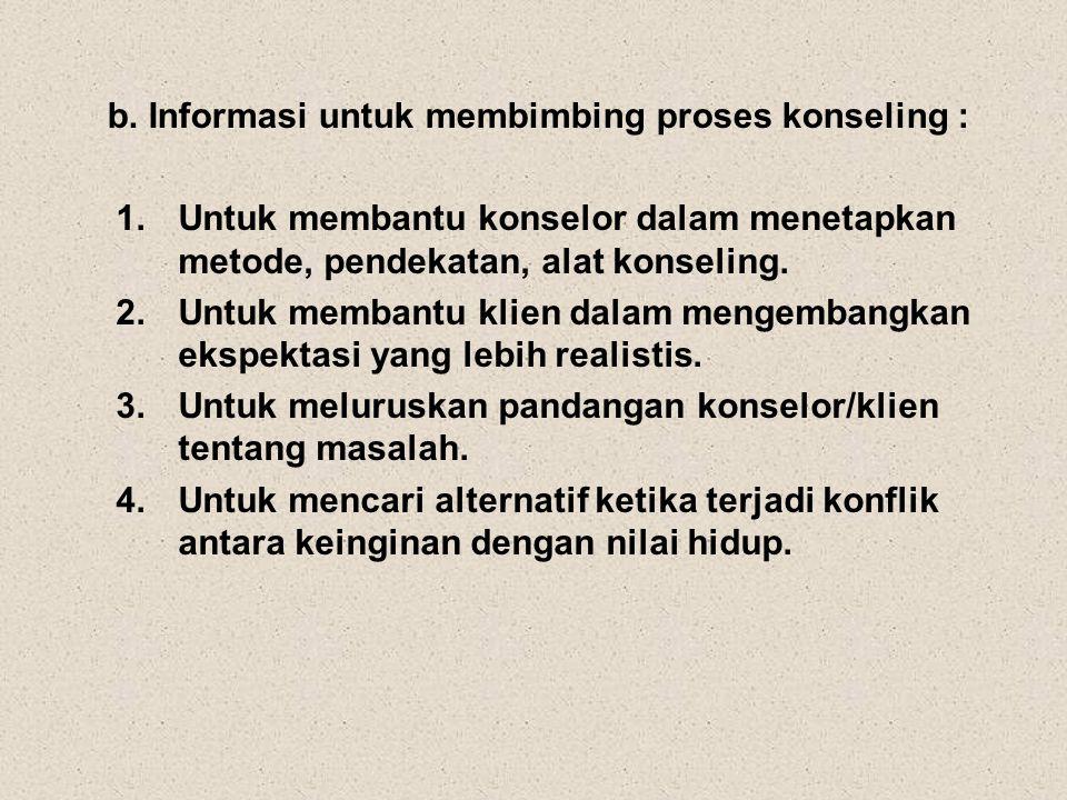 b. Informasi untuk membimbing proses konseling : 1.Untuk membantu konselor dalam menetapkan metode, pendekatan, alat konseling. 2.Untuk membantu klien
