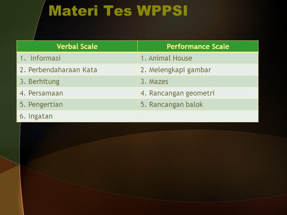 Materi Tes WPPSI Verbal ScalePerformance Scale 1.Informasi1. Animal House 2. Perbendaharaan Kata2. Melengkapi gambar 3. Berhitung3. Mazes 4. Persamaan