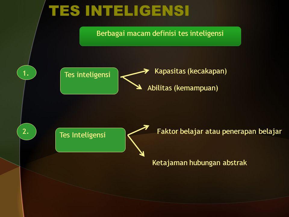 TES INTELIGENSI Berbagai macam definisi tes inteligensi 1. Tes inteligensi Kapasitas (kecakapan) Abilitas (kemampuan) 2. Tes Inteligensi Faktor belaja