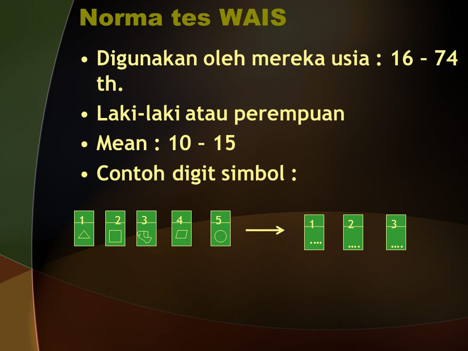 Norma tes WAIS Digunakan oleh mereka usia : 16 – 74 th. Laki-laki atau perempuan Mean : 10 – 15 Contoh digit simbol : 1345 123 2.… ….