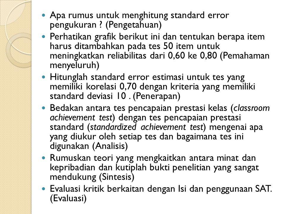 Apa rumus untuk menghitung standard error pengukuran ? (Pengetahuan) Perhatikan grafik berikut ini dan tentukan berapa item harus ditambahkan pada tes