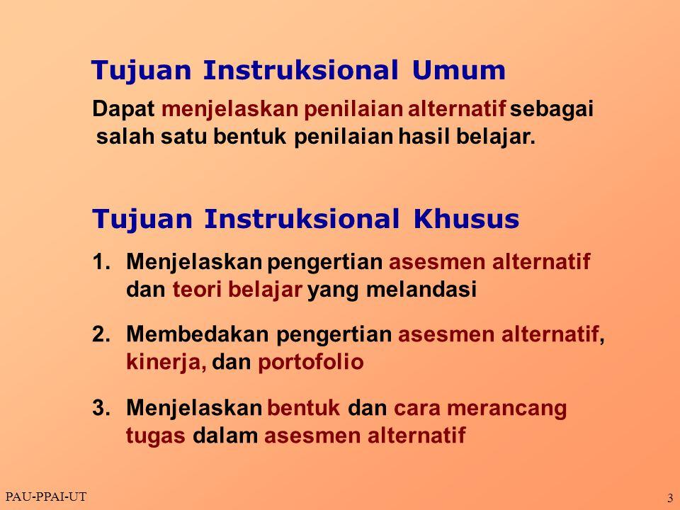 PAU-PPAI-UT 14 Dimensi Definisi & contoh dimensi Skala penilaian Standar untuk setiap kategori kinerja