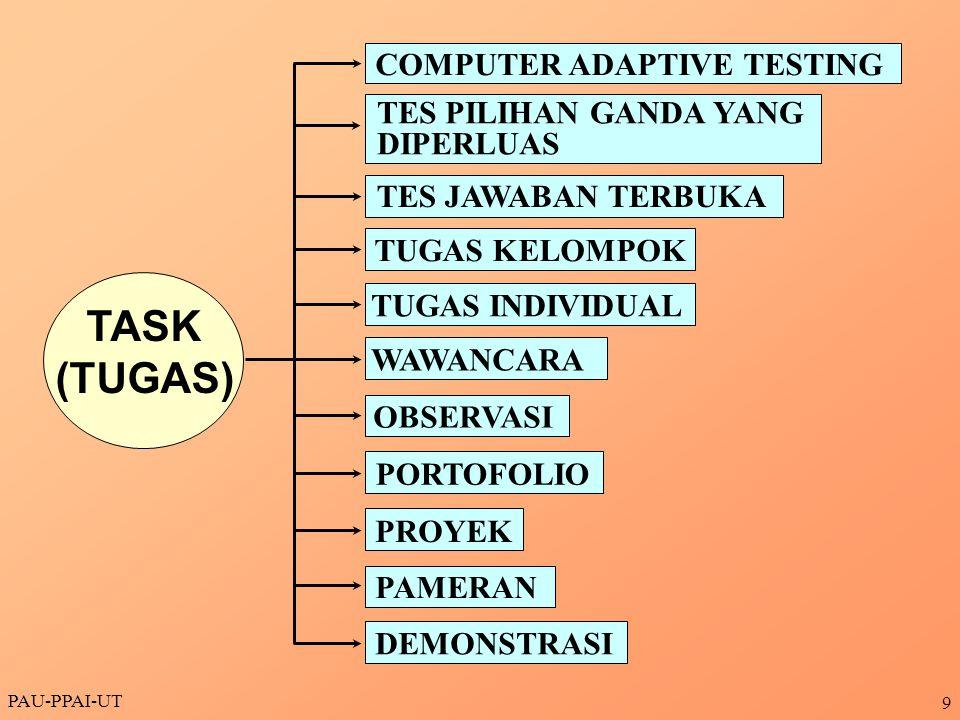 PAU-PPAI-UT 9 TASK (TUGAS) COMPUTER ADAPTIVE TESTING TES PILIHAN GANDA YANG DIPERLUAS TES JAWABAN TERBUKA TUGAS KELOMPOK TUGAS INDIVIDUAL WAWANCARA OB