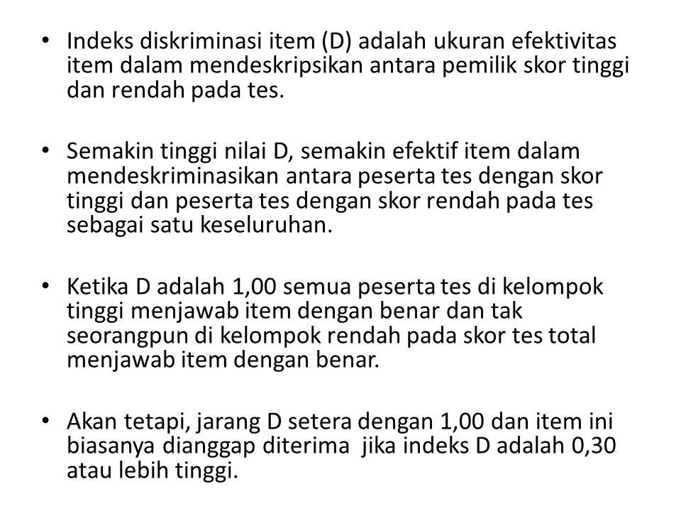 Indeks diskriminasi item (D) adalah ukuran efektivitas item dalam mendeskripsikan antara pemilik skor tinggi dan rendah pada tes.