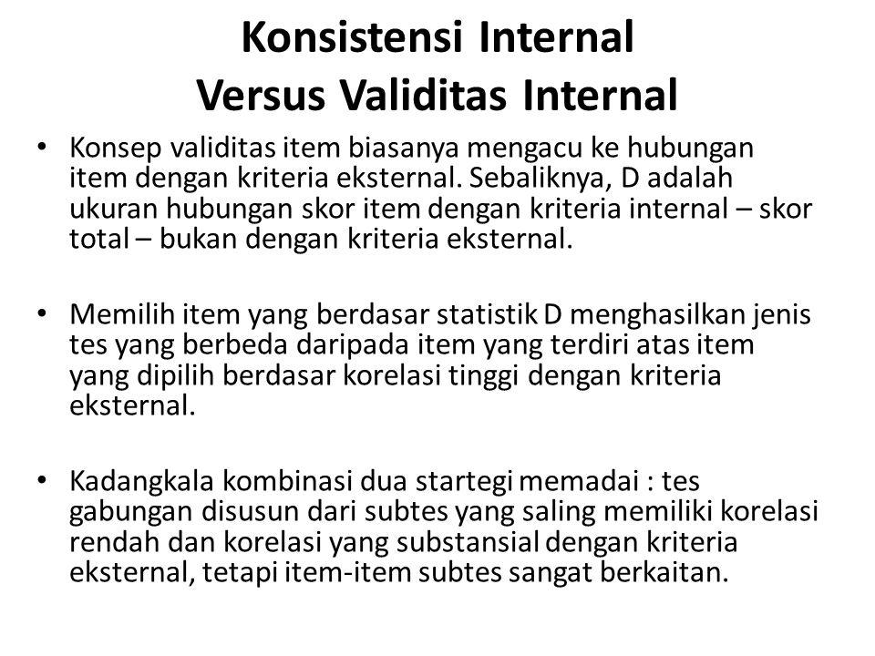 Konsistensi Internal Versus Validitas Internal Konsep validitas item biasanya mengacu ke hubungan item dengan kriteria eksternal.