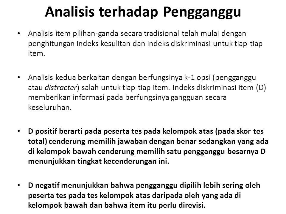 Analisis terhadap Pengganggu Analisis item pilihan-ganda secara tradisional telah mulai dengan penghitungan indeks kesulitan dan indeks diskriminasi untuk tiap-tiap item.