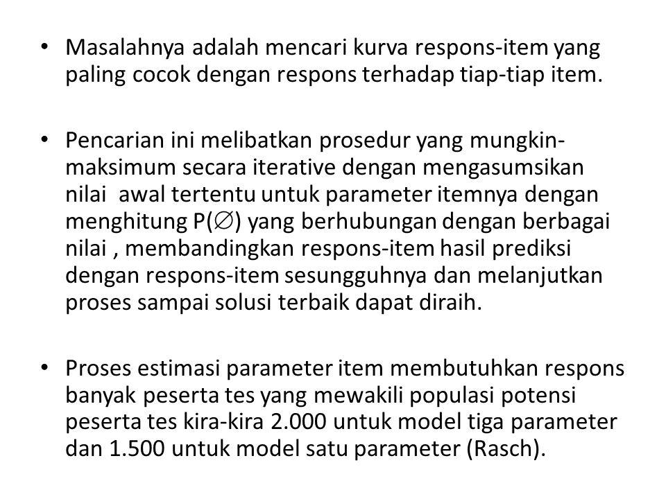 Masalahnya adalah mencari kurva respons-item yang paling cocok dengan respons terhadap tiap-tiap item.