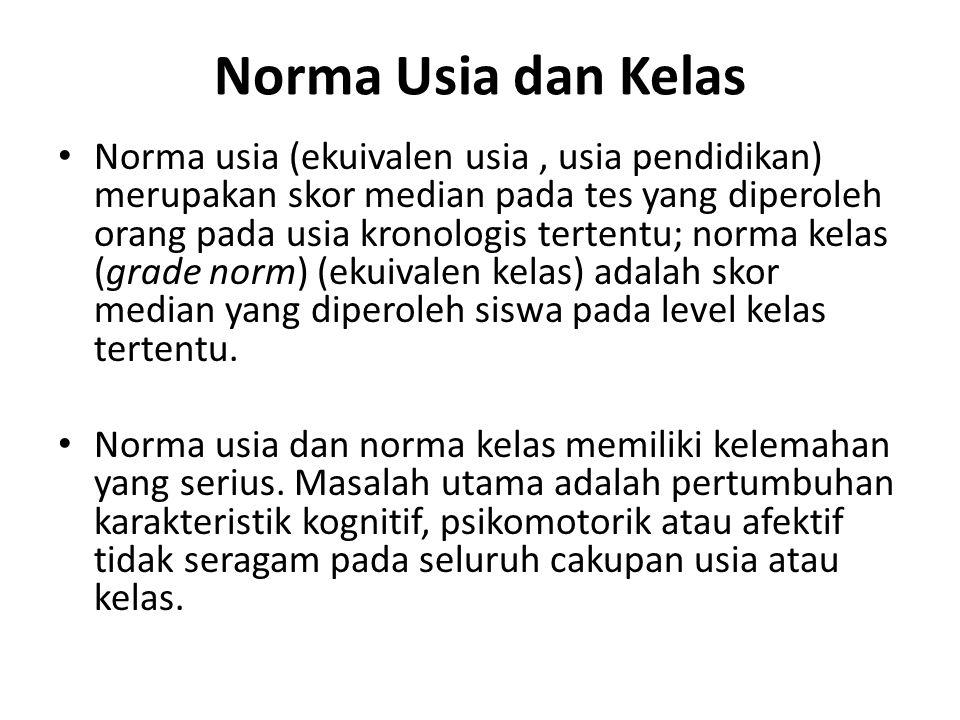 Norma Usia dan Kelas Norma usia (ekuivalen usia, usia pendidikan) merupakan skor median pada tes yang diperoleh orang pada usia kronologis tertentu; norma kelas (grade norm) (ekuivalen kelas) adalah skor median yang diperoleh siswa pada level kelas tertentu.