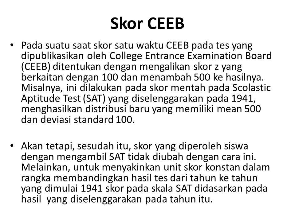 Skor CEEB Pada suatu saat skor satu waktu CEEB pada tes yang dipublikasikan oleh College Entrance Examination Board (CEEB) ditentukan dengan mengalikan skor z yang berkaitan dengan 100 dan menambah 500 ke hasilnya.
