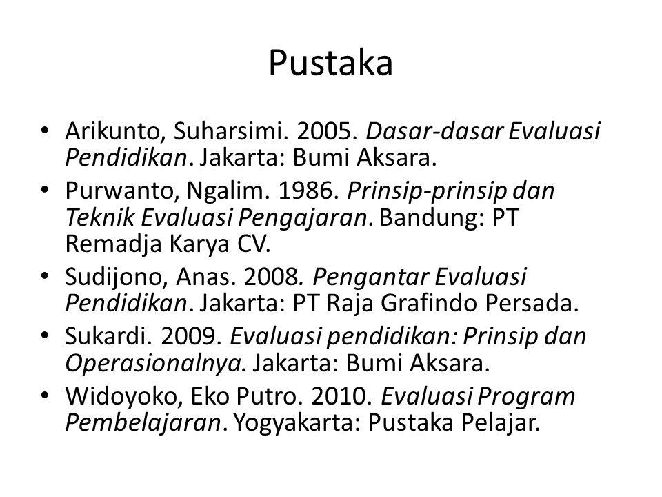 Pustaka Arikunto, Suharsimi. 2005. Dasar-dasar Evaluasi Pendidikan. Jakarta: Bumi Aksara. Purwanto, Ngalim. 1986. Prinsip-prinsip dan Teknik Evaluasi