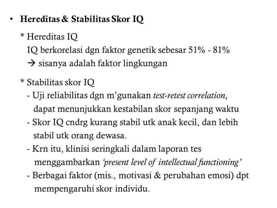 Hereditas & Stabilitas Skor IQ * Hereditas IQ IQ berkorelasi dgn faktor genetik sebesar 51% - 81%  sisanya adalah faktor lingkungan * Stabilitas skor IQ - Uji reliabilitas dgn m'gunakan test-retest correlation, dapat menunjukkan kestabilan skor sepanjang waktu - Skor IQ cndrg kurang stabil utk anak kecil, dan lebih stabil utk orang dewasa.