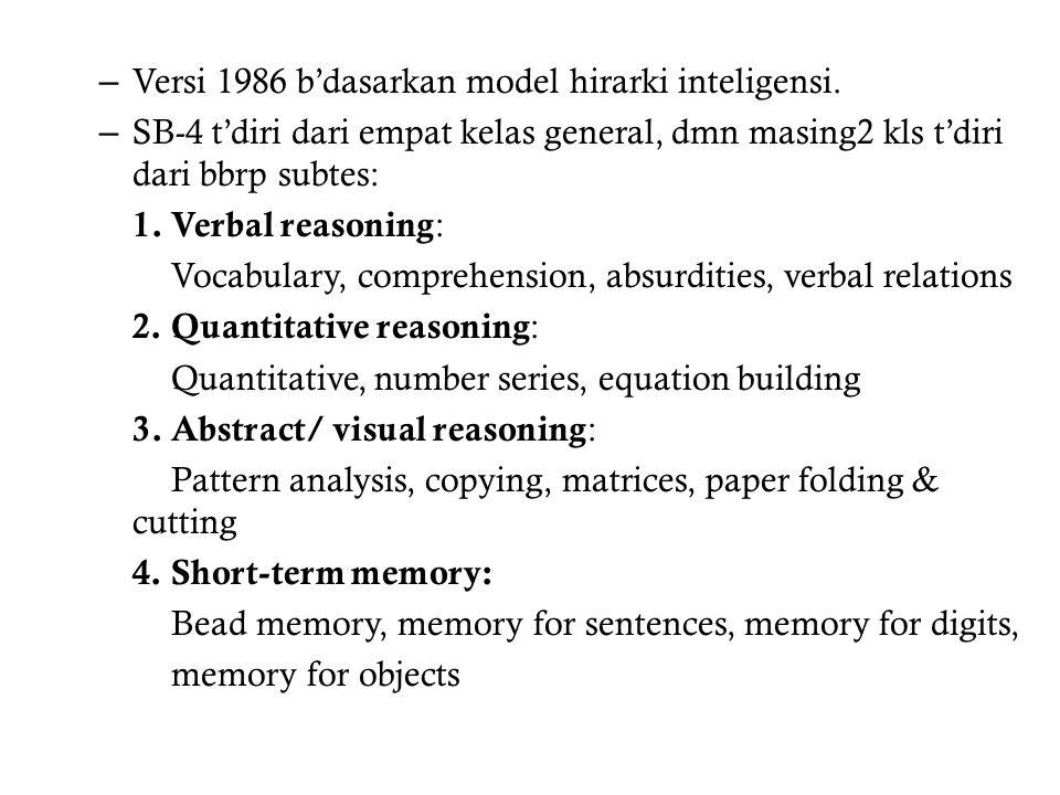 – Versi 1986 b'dasarkan model hirarki inteligensi.