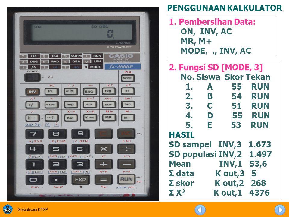 Sosialisasi KTSP SPEC KALKULATOR Kalkulator Scientifc Disarankan minimal scientific fx 3600