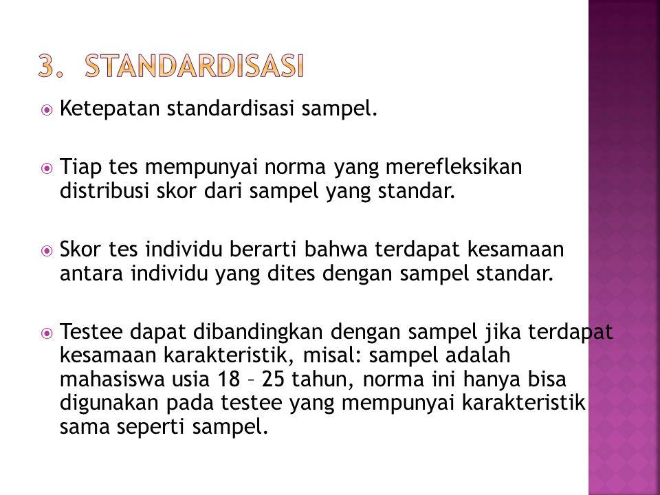  Ketepatan standardisasi sampel.  Tiap tes mempunyai norma yang merefleksikan distribusi skor dari sampel yang standar.  Skor tes individu berarti