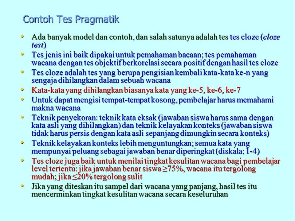 Contoh Tes Pragmatik Ada banyak model dan contoh, dan salah satunya adalah tes tes cloze (cloze test) Ada banyak model dan contoh, dan salah satunya a