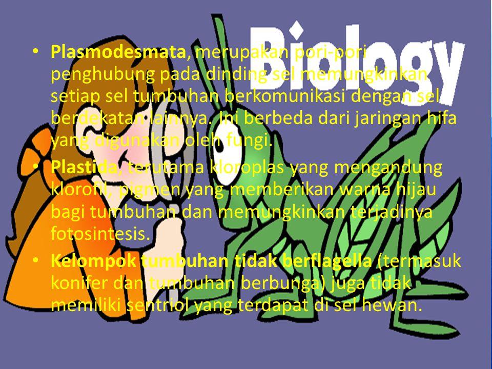 Plasmodesmata, merupakan pori-pori penghubung pada dinding sel memungkinkan setiap sel tumbuhan berkomunikasi dengan sel berdekatan lainnya. Ini berbe