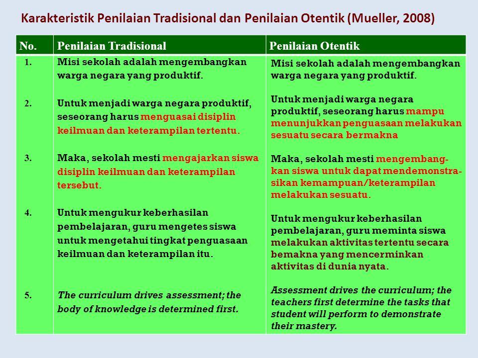 Karakteristik Penilaian Tradisional dan Penilaian Otentik (Mueller, 2008) No.Penilaian TradisionalPenilaian Otentik 1.